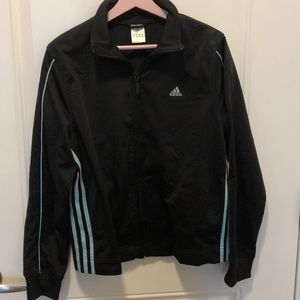 Zip up Adidas jacket. Black with light mint strips